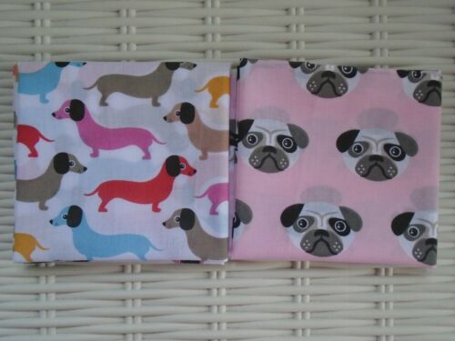 Fat Quarter Bundle of 2 Fabrics Sausage Dog /& Pugs Pug Dachshund Fabric Material