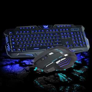 Hot 3 Color Illuminated LED Backlight Wired USB Ergonomic Gaming Keyboard&Mouse