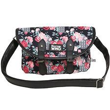 BBC DR Doctor Who Tardis Floral Print Double Buckle Crossbody Bag Purse Handbag