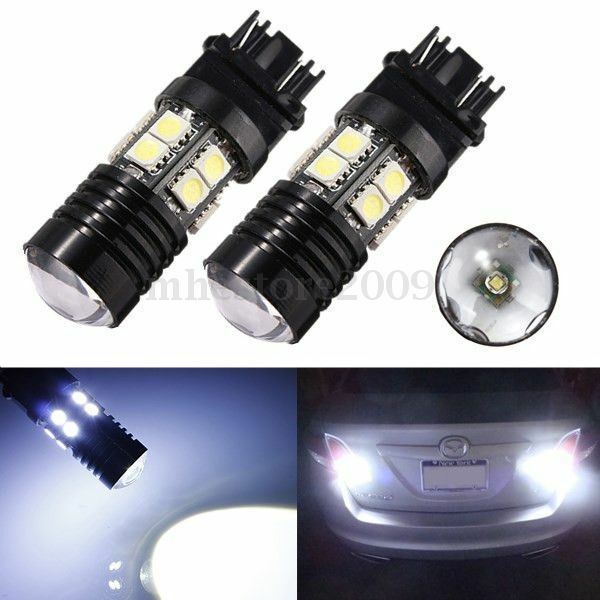2X 3157 White 6000K Backup Reverse Projector + 12 5050 Chip LED Light Bulb
