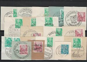 German Democratic Republic 1950s Special Cancels On Piece Stamps ref 22511