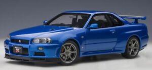 NISSAN SKYLINE R34 GT-R model car Black or Bayside blue 1:18 AUTOart 77407 77408
