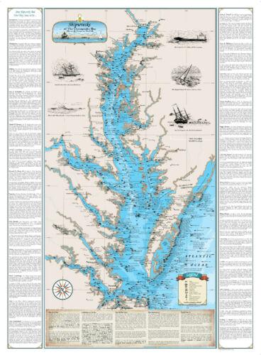 Nautical Art Print Map Laminated Shipwrecks of the Chesapeake Bay Chart