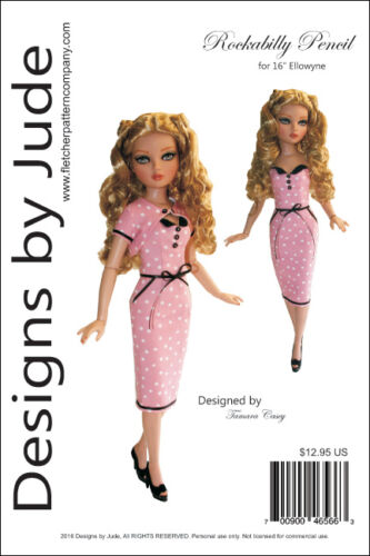 Rockabilly Pencil Dress Doll Clothes Sewing Pattern for Ellowyne Dolls Tonner