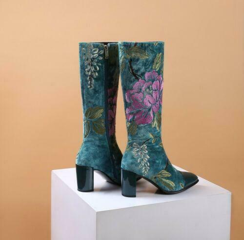 Chic Women/'s Block Heels Embroidery Floral ethnic Style Mid Calf Boots Zip Shoes
