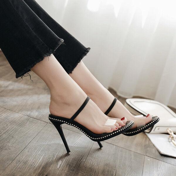 Sandali eleganti stiletto eleganti Sandali sabot 11 cm nero  ciabatte simil pelle eleganti CW853 60924d