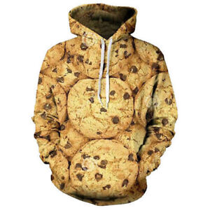964153dd149c Details about Womens Mens Chocolate Cookies Funny 3D Print Casual Hoodie  Sweatshirt Pullover