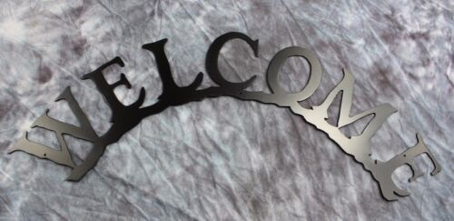 Curved Welcome Metal Wall Art Black