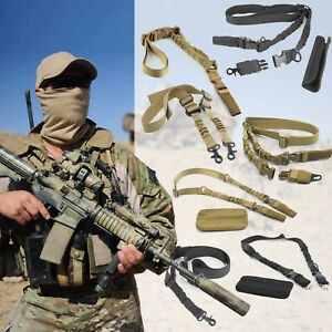 Adjustable-Tactical-Sling-QD-1-or-2-Point-Bungee-Quick-Release-Detach-Hunting