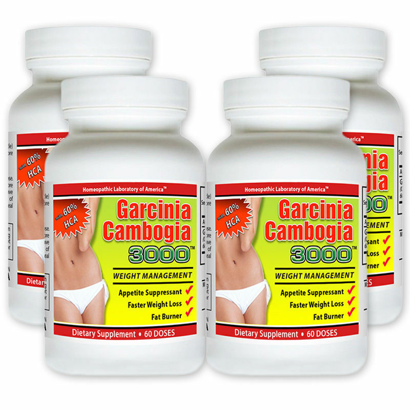 4 Pack PURE Garcinia Cambogia Extract Natural Weight Loss HCA Diet FAT BURN s l1600