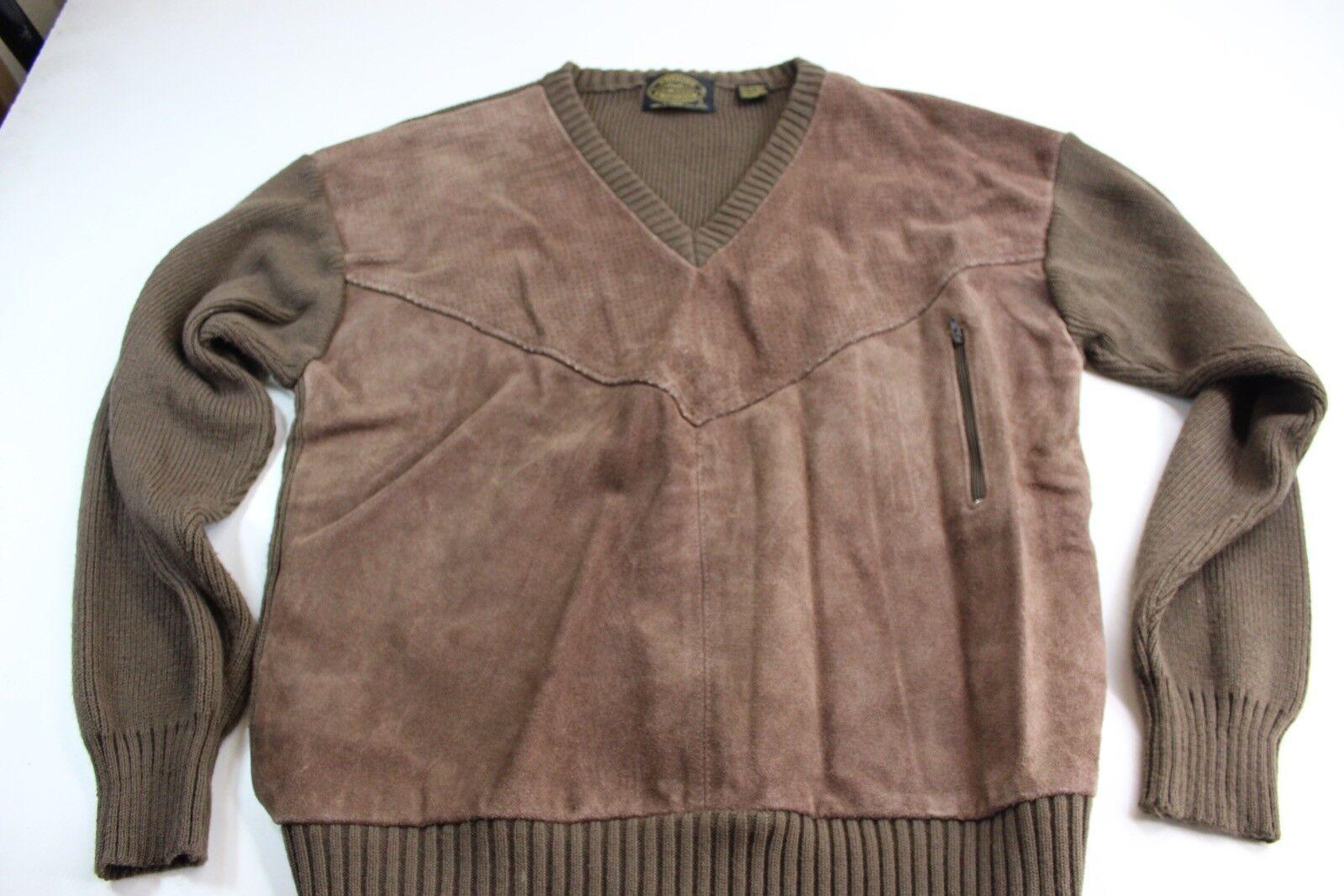 VTG Sweater Emporium Cow Suede Leather Front Unique SWEATER Large L Slim