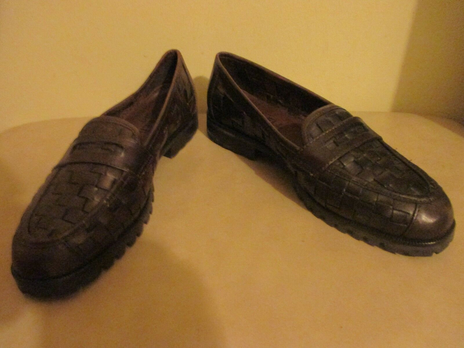 Van Eli Sport Dark Brown Basket Woven leather Penny loafer Slip On Size 7 N New