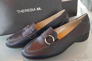 THERESIA-M-Grit-Damen-Schuhe-Slipper-Mokassins-Einlagen-Leder-Gr-4-5-G-37-5-NEU