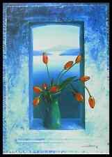 H. Hoffmann Tulpen im Fenster Poster Bild Kunstdruck & Alurahmen schwarz 80x60cm
