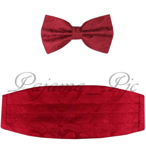 Red Men/'s Cummerbund And Bow tie Brand New Paisley Red