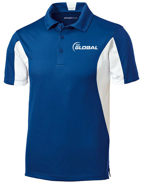 900 Global Men's Compass Performance Polo Bowling Shirt Dri-Fit Royal bluee White