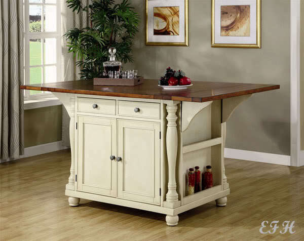 NEW VERONA CHERRY CREAM WOOD KITCHEN ISLAND WINE RACK COUNTER TABLE w/ DROP LEAF