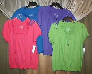 Womans-Key-Hole-Tie-Front-Top-Smocked-Neck-Line-amp-Waist-Cap-Sleeves-NEW-NWT