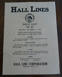 1947 Hall Lines Price List Number #107 Hall Line Corporation Highland Mills NY
