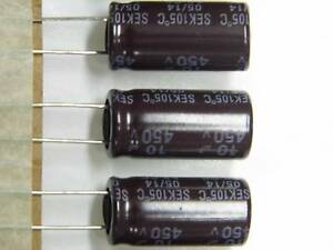 Lot x5 - capacitor condo condensateur 10µF 10uF 450v radial 105°C 13x25mm RoHS