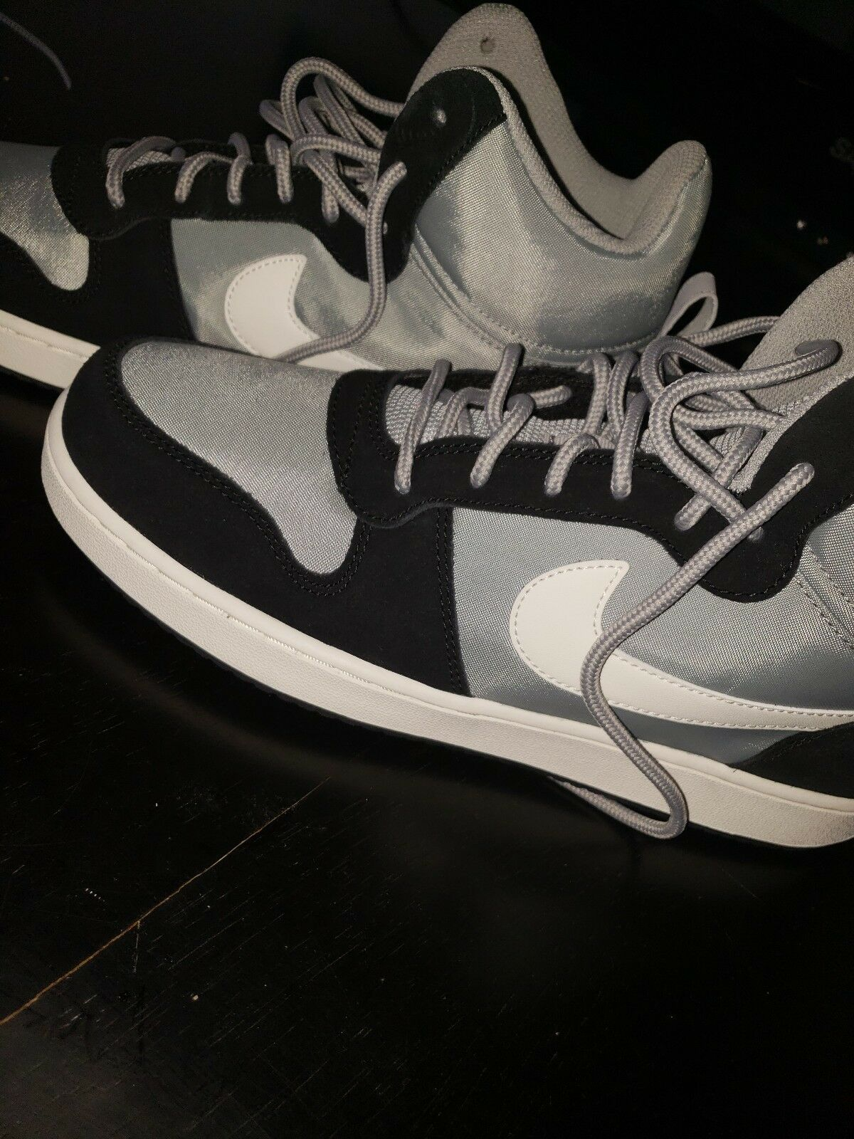 Nike Court Borough Mid Premium 844884-005 Mens Shoes Black & Silver 10