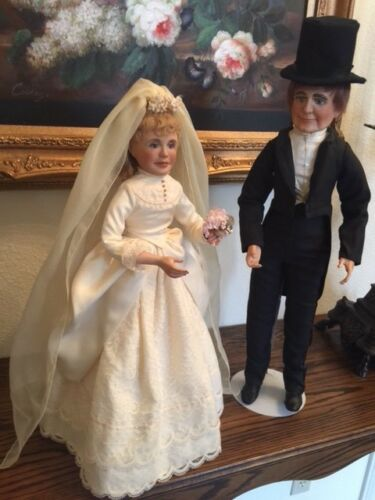 "Porcelain dolls ""BRIDE & GROOM OF THE 1890's"" VINTAGE 1984, Ltd Ed 1100"