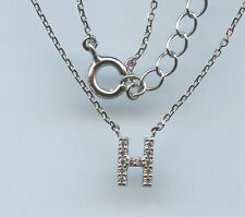 PETITE 925 STERLING SILVER MICRO PAVE CZ H INITIAL LETTER NECKLACE