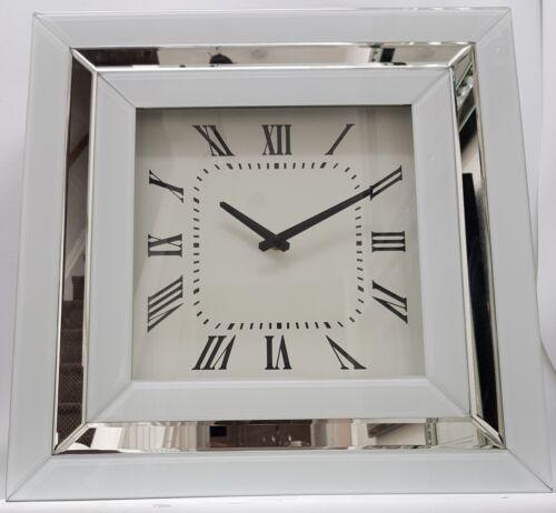 Grand Blanc Miroir Horloge murale carré biseauté et paillettes argent Border 50x50cm