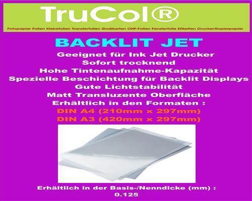 A4 transluzent A3 Inkjet Backlit-Folie 125µm Polyesterfolie film Tinte
