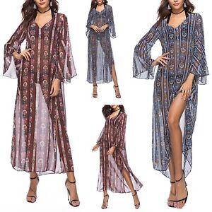 Vestito-Donna-Caftano-Maxi-Sopra-Leggings-Copricostume-Kaftan-Dress-COV0058-P