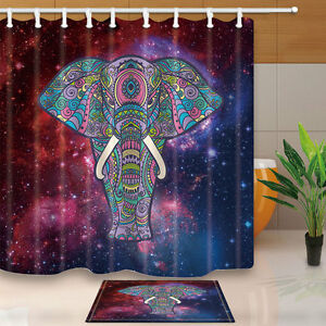 Image Is Loading Bohemian Style Shower Curtain Set Animal Elephant Bathroom