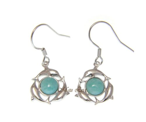 925 Sterling Silver Hawaiian Dolphin Natural Blue Larimar Hook Dangle Earrings
