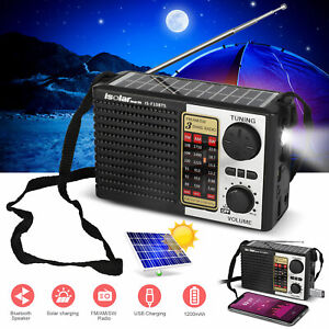 5in1 Bluetooth Speaker Emergency Solar FM/AM Radio Flashlight Cell Phone Charger
