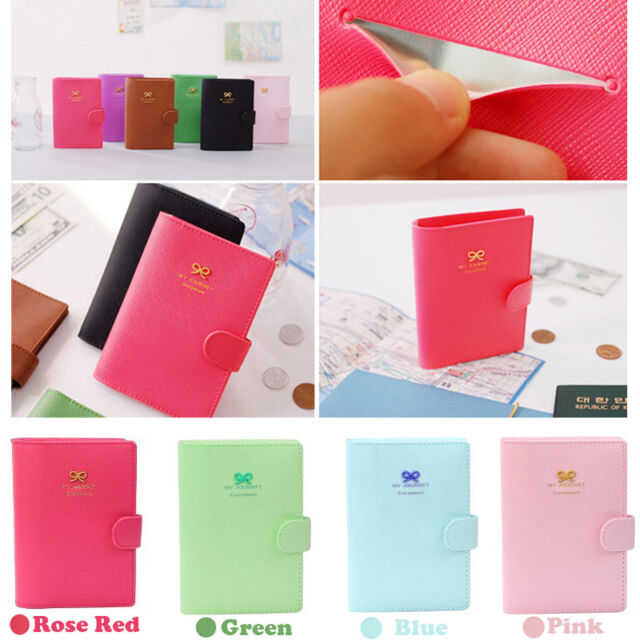 Sweet Bowknot Crown Buckles Passport Holder Ticket Case Protect Cover Organizer