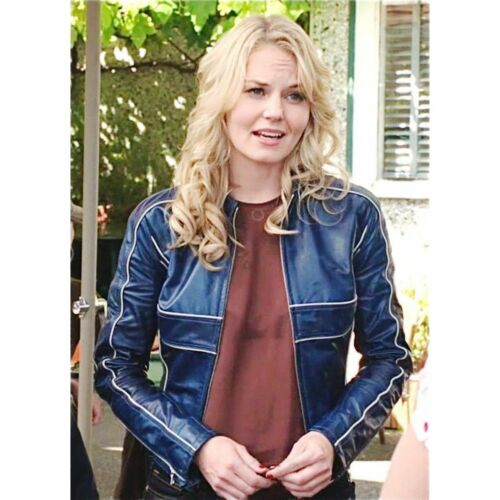 Jennifer MORRISON c/'era una volta Emma Swan Blue Giacca in Vera Pelle M52