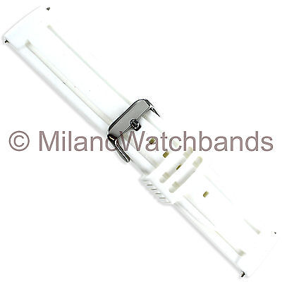 26mm Speidel White Durable Silicone Rubber Sports Mens Long Watch Band 165133