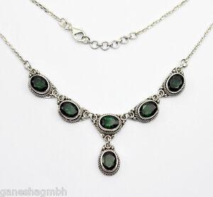 Halskette-Collier-aus-Silber-925-mit-echtem-Gruenquarz-Sterlingsilber