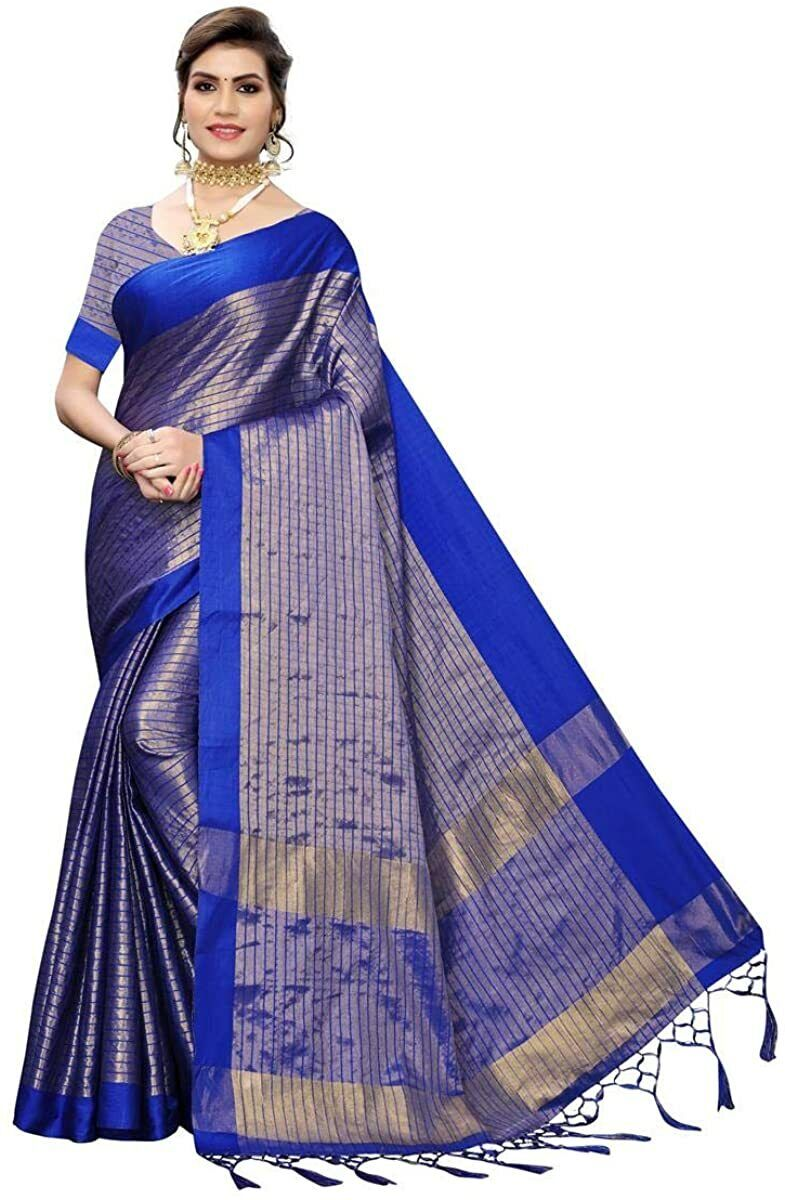 Indian Women's Cotton Silk Saree With Blouse Piece Free Shipping, Blue Color