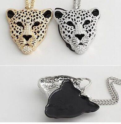 Fashion Retro Vintage Hollow Leopard Head Pendant Necklace e