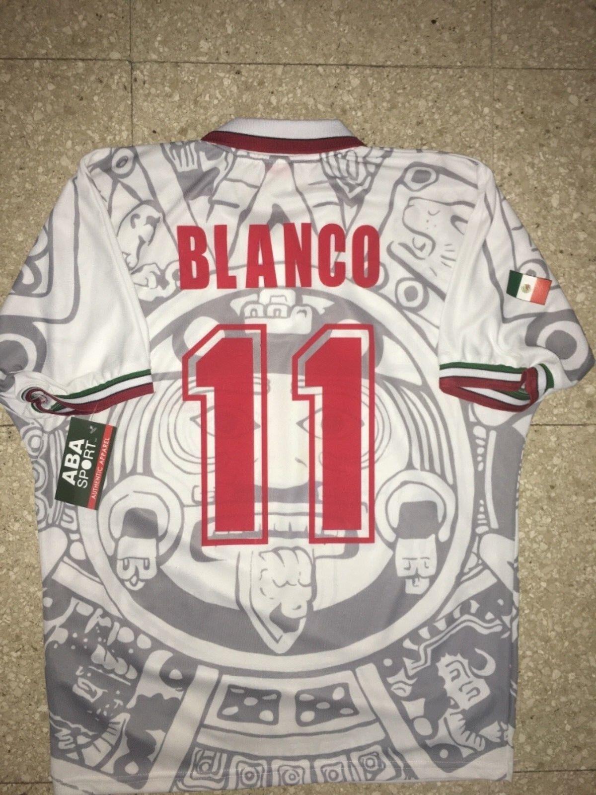 México lejos 1998 Cuauhtemoc blancoo WC 98, Talla L, auténtico Camisa Aba Sport