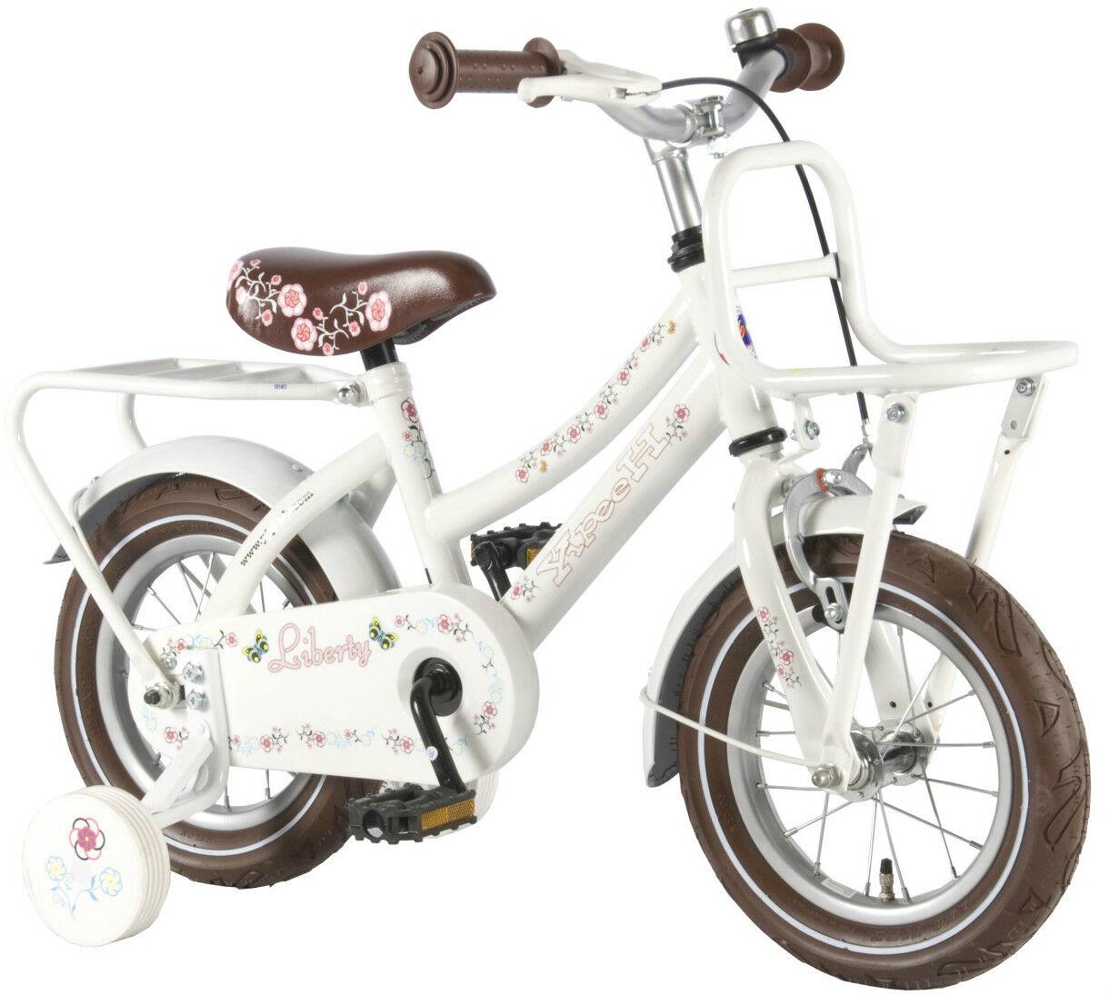 12 Zoll Fahrrad Holland Style Qualitäts Kinderfahrrad mit Stützräder weiss 21228