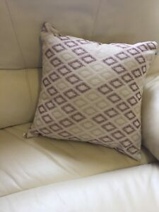 Cream-Embroidered-Rhombus-43cm-X-43cm-Cushion-With-Hollowfibre-Bounce-Back-Inner