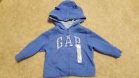 Boys Girls Gap Blue Bear Ears Hoodie Size 6-12 Months