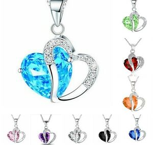 Fashion-Women-Pendant-Jewelry-Crystal-Heart-Silver-Colour-Necklace-Chain