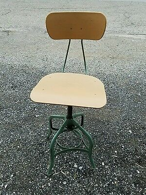 Vintage Industrial Toledo Drafting Typing desk Chair Machine Age Stool - REDUCED