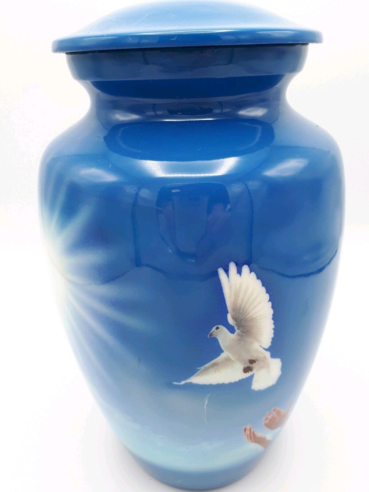 Adulte Aluminium Pour Crémation Urne Pour Aluminium Cendres-Bleu avec belle colombe blanche 323737