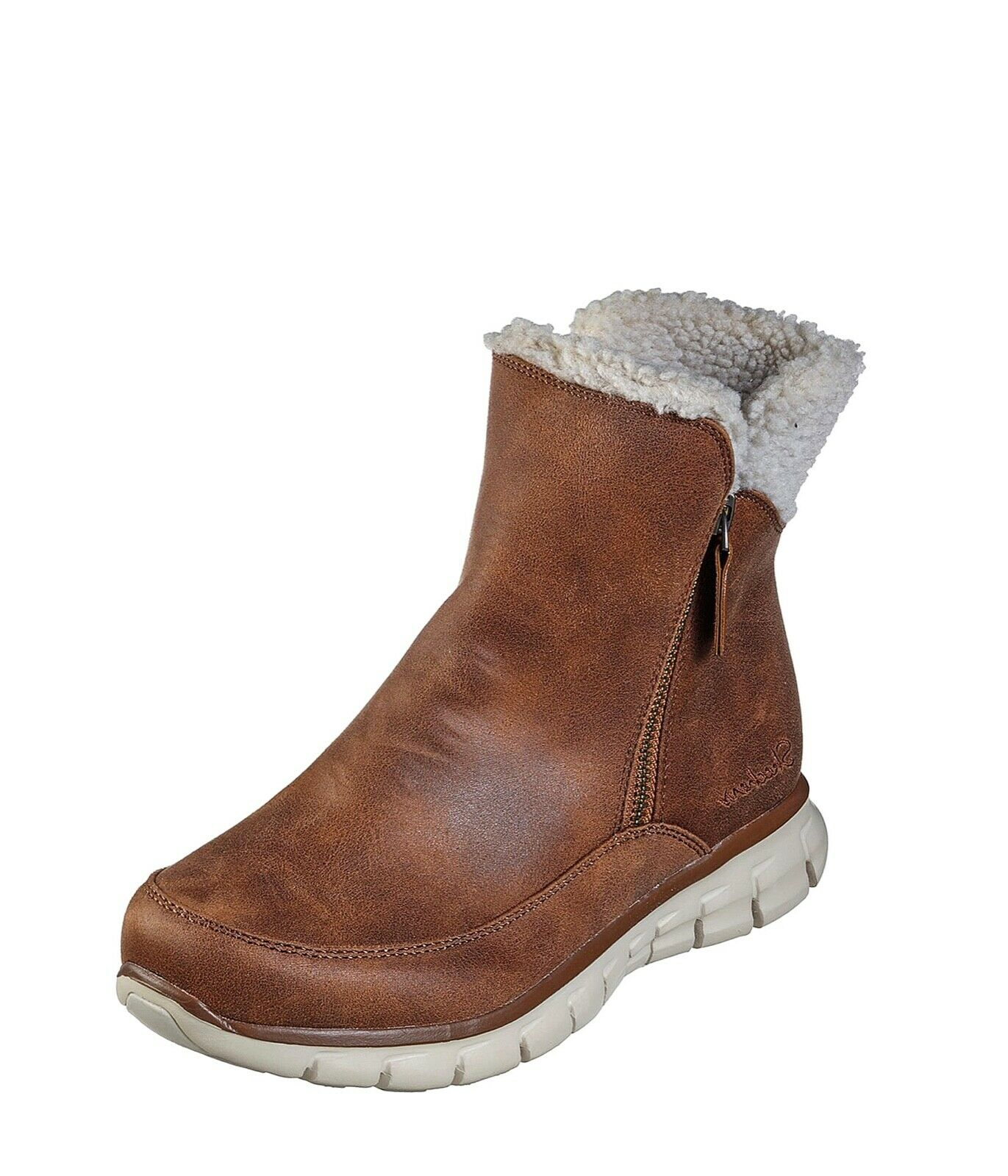 Skechers NEW Synergy Collab chestnut tan memory foam faux fleece ankle Stiefel 3-8