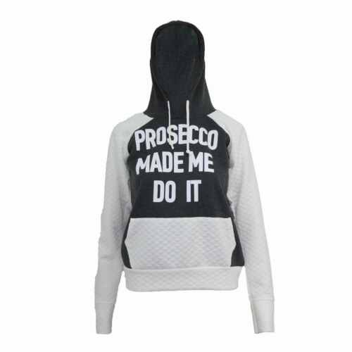Womens Ladies Prosecco Made Me Do It Slogan Print Quilted Hooded Sweatshirt 8-14
