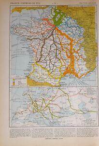 1913 Landkarte Frankreich Zugstrecken Paris Bordeaux St Zweiter Weltkrieg Mit