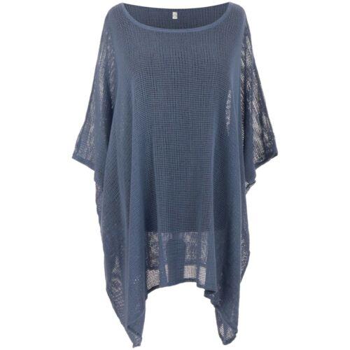 Ladies Italian Cotton Mesh Top Womens Lagenlook Batwing Dress Tunic Layer Shirt